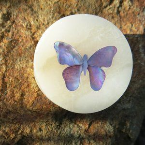 NEW Mother of Pearl Butterfly Round Marble Box